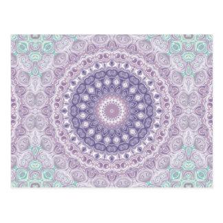 Purple Mandala in Lavender and Sea Green Postcard