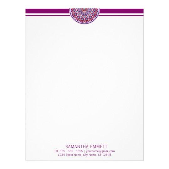 Purple Mandala Professional Modern Letterhead