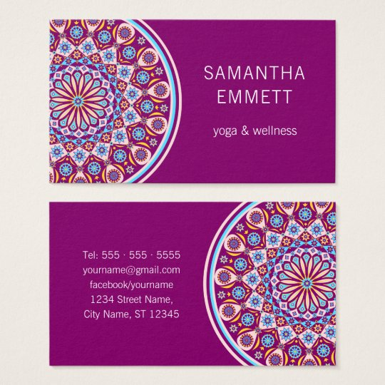 Purple Mandala Professional Yoga Business Card