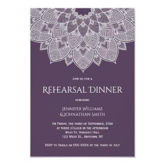 Purple mandala rehearsal dinner invitations