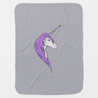 Purple Mane White Unicorn With Star Horn Baby Blankets