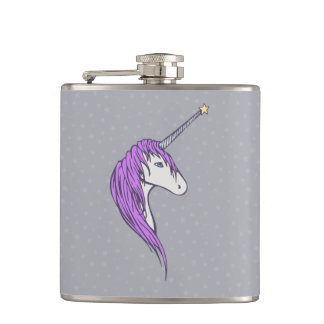 Purple Mane White Unicorn With Star Horn Flask