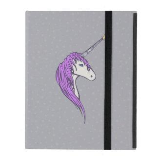 Purple Mane White Unicorn With Star Horn iPad Cover