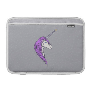 Purple Mane White Unicorn With Star Horn MacBook Sleeves