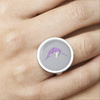 Purple Mane White Unicorn With Star Horn Photo Ring