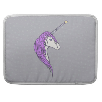 Purple Mane White Unicorn With Star Horn Sleeve For MacBooks