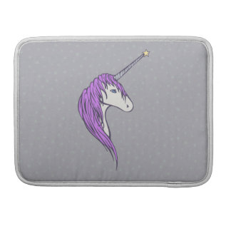 Purple Mane White Unicorn With Star Horn Sleeves For MacBook Pro