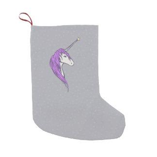 Purple Mane White Unicorn With Star Horn Small Christmas Stocking