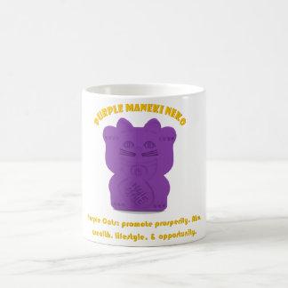 Purple Maneki Neko Both Paws Mug