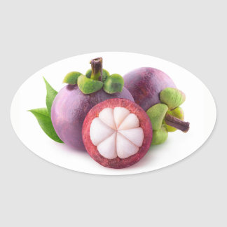 Purple mangosteens oval sticker