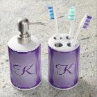 Purple Marble Panels Monogram Soap Dispenser And Toothbrush Holder