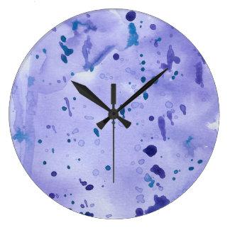 Purple Marble Splat Large Clock