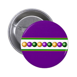 Purple Mardi Gras Beads Button