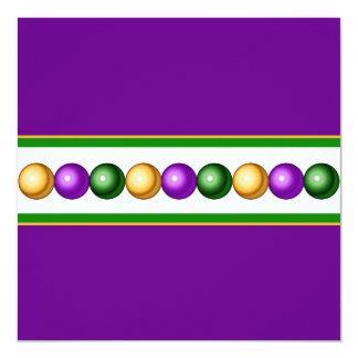 Purple Mardi Gras Beads Invitation