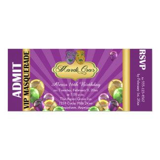 Purple Mardi Gras Party Ticket Invitation