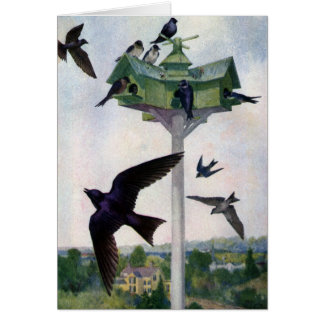 Purple Martins and Their Birdhouse Card
