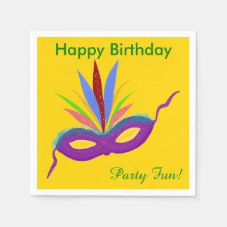 Purple Mask Birthday Napkins