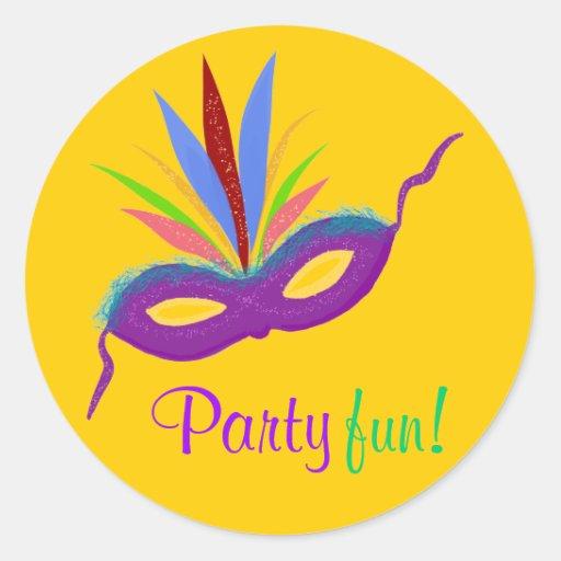 Purple Mask Feathers Mardi Gras Party Fun Orange Round Sticker