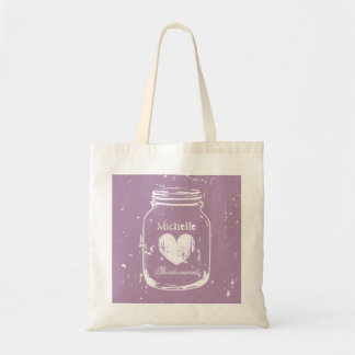 Purple mason jar wedding tote bag for bridesmaids
