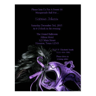 Purple Masquerade Ball Sweet Sixteen Birthday Postcard