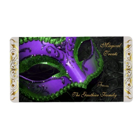 Purple Masquerade Mask  Halloween Baking Label