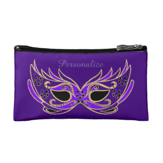 Purple Masquerade Mask Makeup Bag