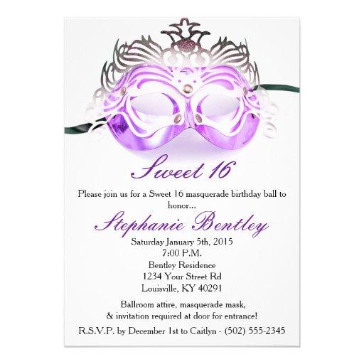 Purple Masquerade Sweet 16 Birthday Invitation