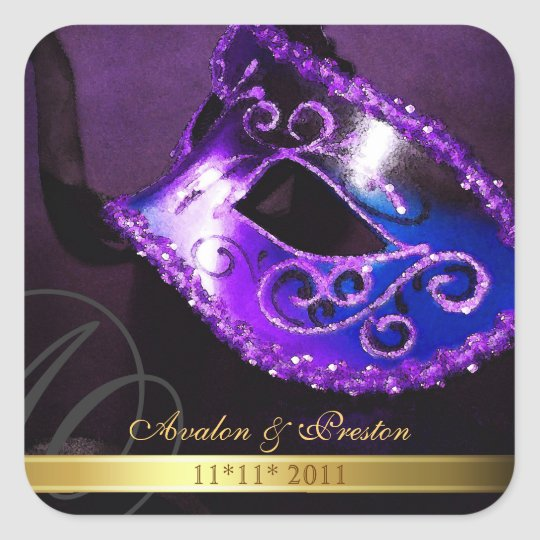 Purple Masquerade Swirl Save The Date Sticker