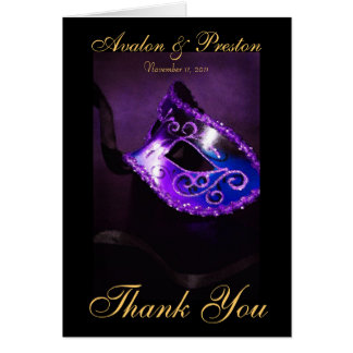 Purple Masqurade Mask Thank You Note Card