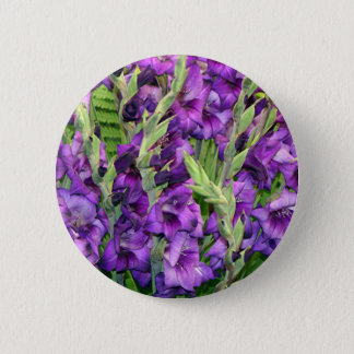 Purple mauve gladioli flowers 2 inch round button