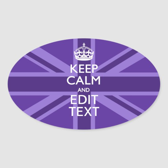 Purple Mauve Keep Calm And Your Text Union Jack Oval Sticker