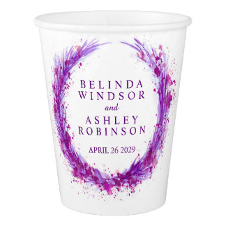 Purple mauve splash watercolor wreath wedding cups