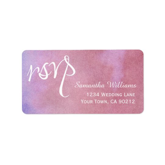Purple Mauve Watercolor Wedding RSVP Labels