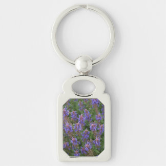 Purple Meadow Sage Silver-Colored Rectangle Keychain