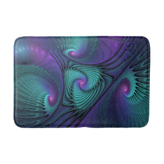 Purple meets Turquoise modern abstract Fractal Art Bath Mat