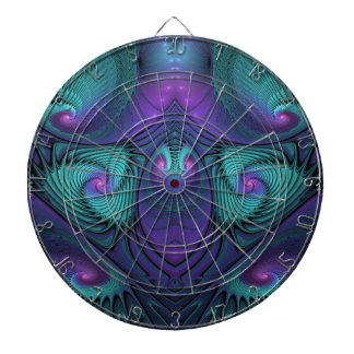 Purple meets Turquoise modern abstract Fractal Art Dartboard