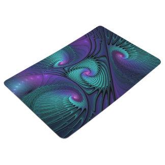 Purple meets Turquoise modern abstract Fractal Art Floor Mat