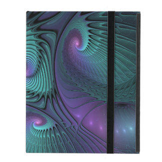 Purple meets Turquoise modern abstract Fractal Art iPad Folio Case