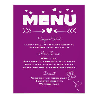 Purple Menu With Butterfly & Hearts Wedding