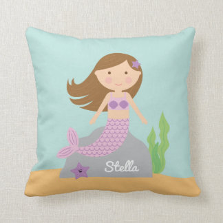 Purple Mermaid and Starfish Pillow