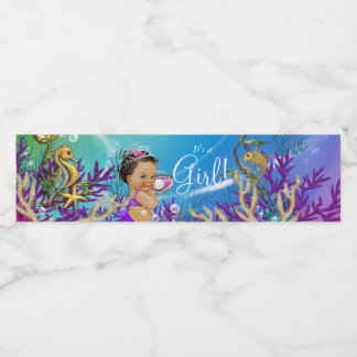 Purple Mermaid Baby Shower Water Bottle Labels