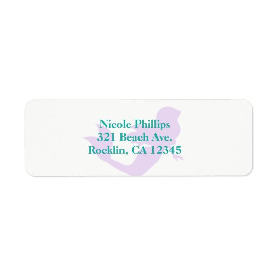 Purple Mermaid Beach Birthday Party Invitation Return Address Label