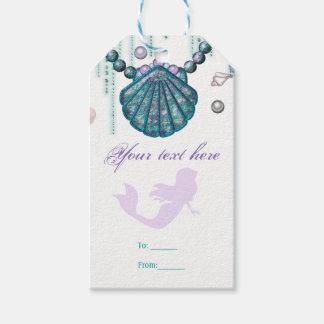 Purple Mermaid Beach Bling Birthday Party Favor Gift Tags