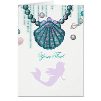 Purple Mermaid Beach Bling Thank You Fold Card