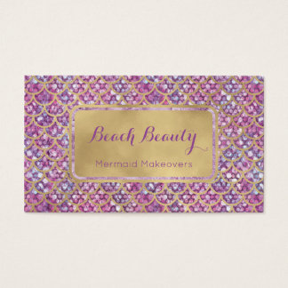Purple Mermaid Business Card Gold and Sequin glam