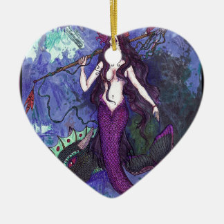 Purple Mermaid Girl with Dragon Sea Serpent Ceramic Ornament