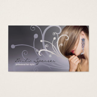 Purple Metal Curves Haircut Stylist Card