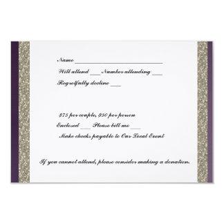 "Purple Metallic and Silver RSVP 3.5"" X 5"" Invitation Card"