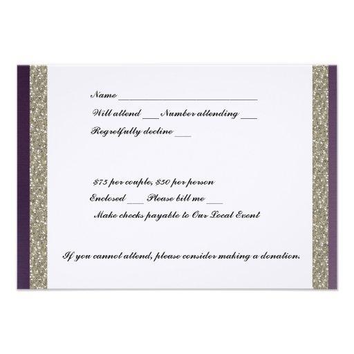 Purple Metallic and Silver RSVP Invite