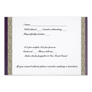Purple Metallic and Silver RSVP 3.5x5 Paper Invitation Card